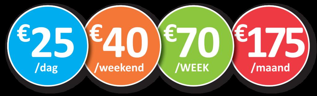 Huurprijzen aanhangwagen: 25€/dag - 40€/weekend - 70€/week - 175€/maand